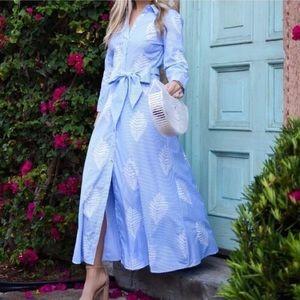 Zara Embroidered Stripe Midi Shirt Dress